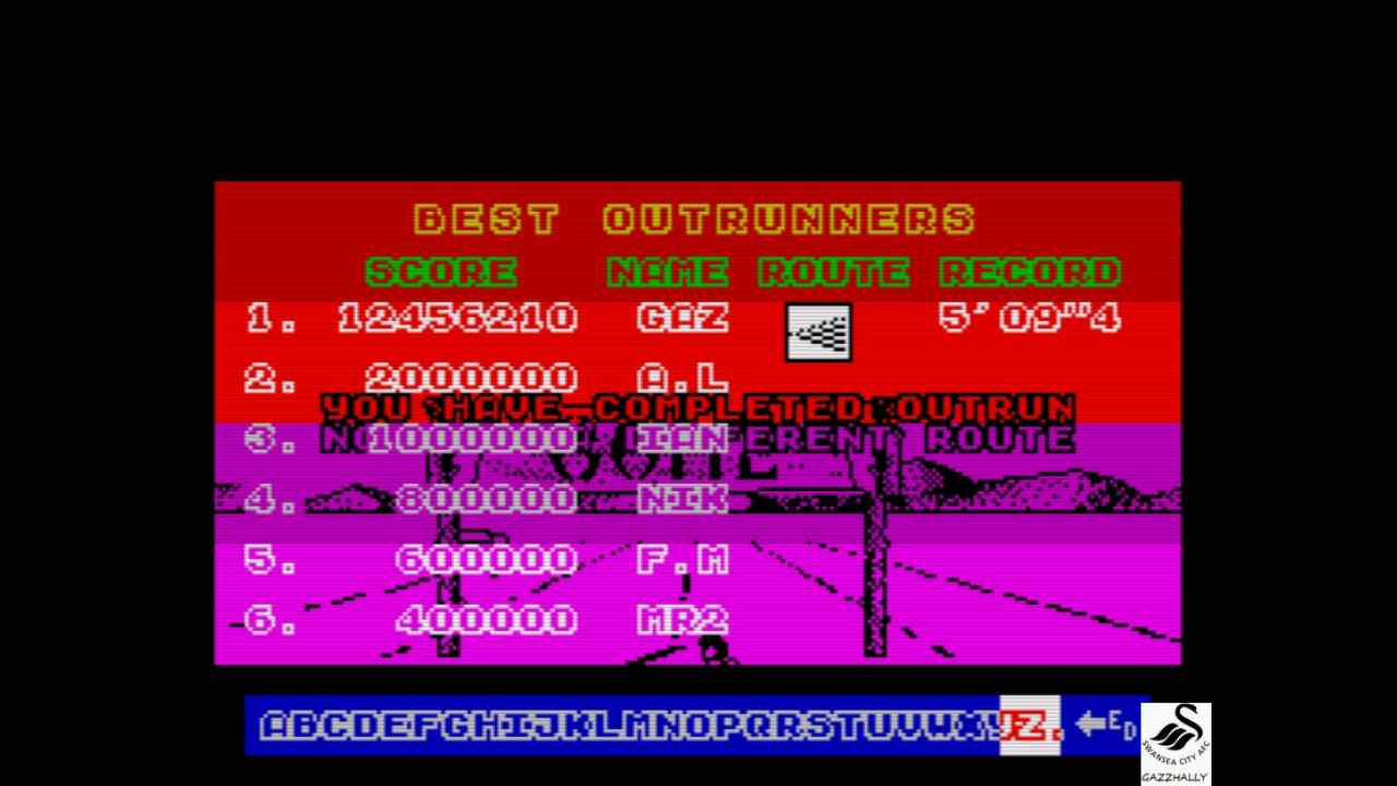 gazzhally: Outrun (ZX Spectrum Emulated) 12,456,210 points on 2017-10-04 12:17:13