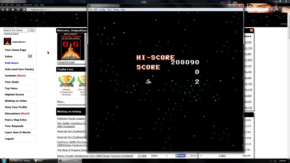 OriginalGamer: Over Horizon (NES/Famicom Emulated) 208,090 points on 2016-07-10 01:45:59