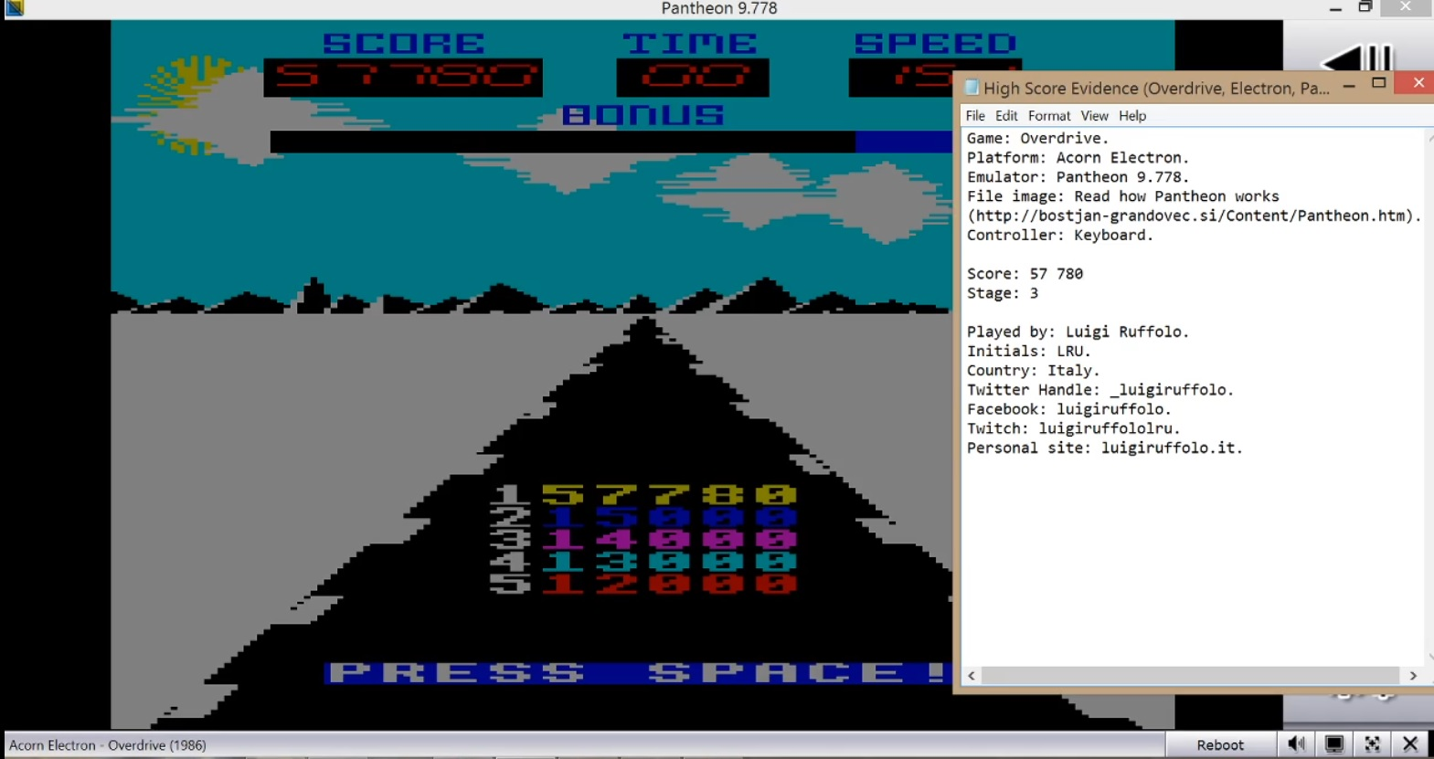 LuigiRuffolo: Overdrive (Acorn Electron Emulated) 57,780 points on 2020-08-02 07:30:41