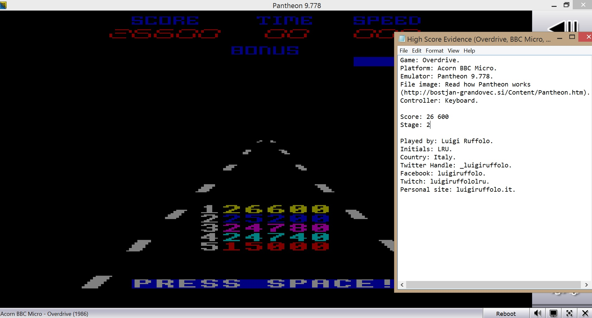 LuigiRuffolo: Overdrive (BBC Micro Emulated) 26,600 points on 2020-08-02 08:23:52