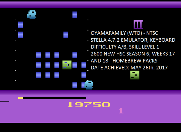 oyamafamily: Oystron (Atari 2600 Emulated Expert/A Mode) 19,750 points on 2017-07-09 15:30:58