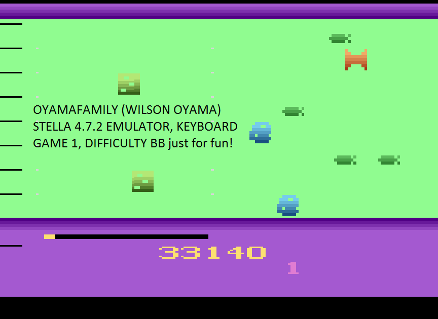 oyamafamily: Oystron (Atari 2600 Emulated Novice/B Mode) 33,140 points on 2017-05-20 20:42:01