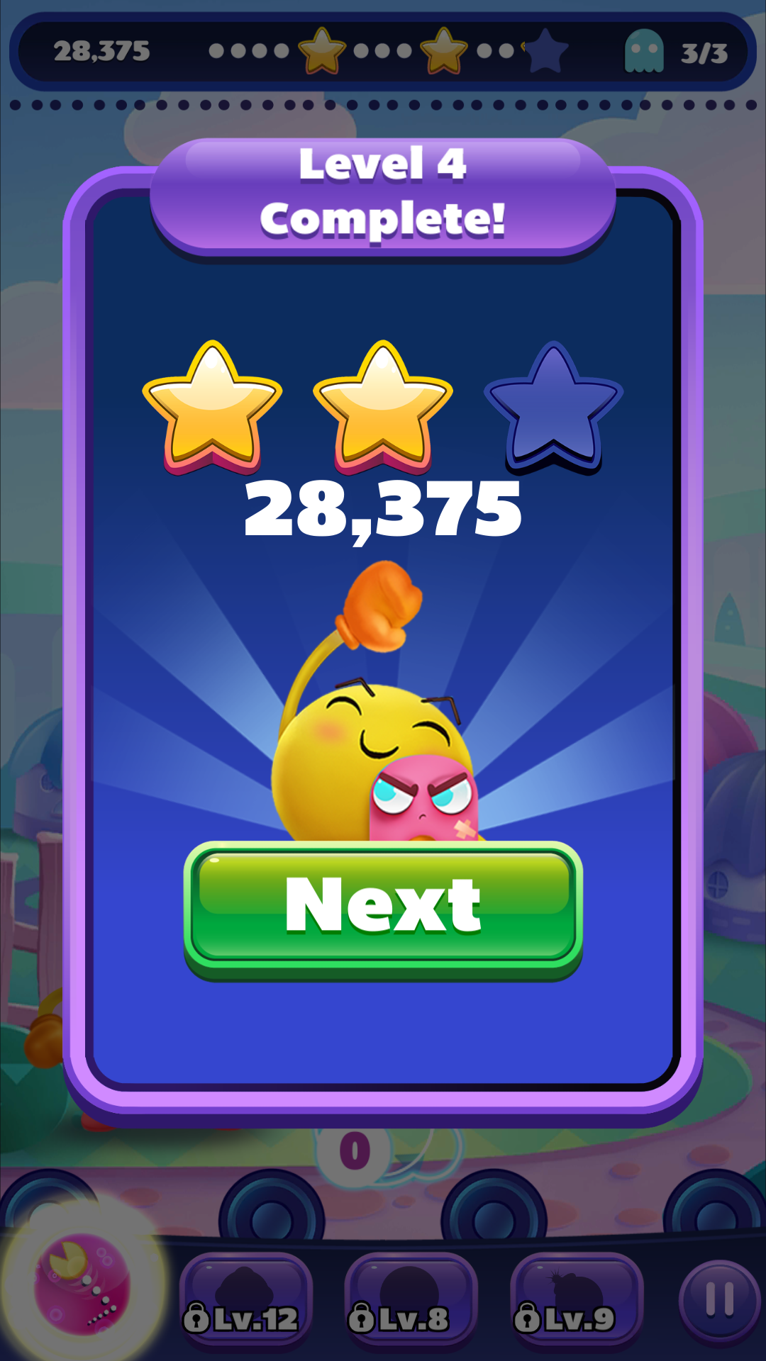 ministorm04: PAC-MAN Pop: Level 004 (Android) 28,375 points on 2019-05-30 09:47:05