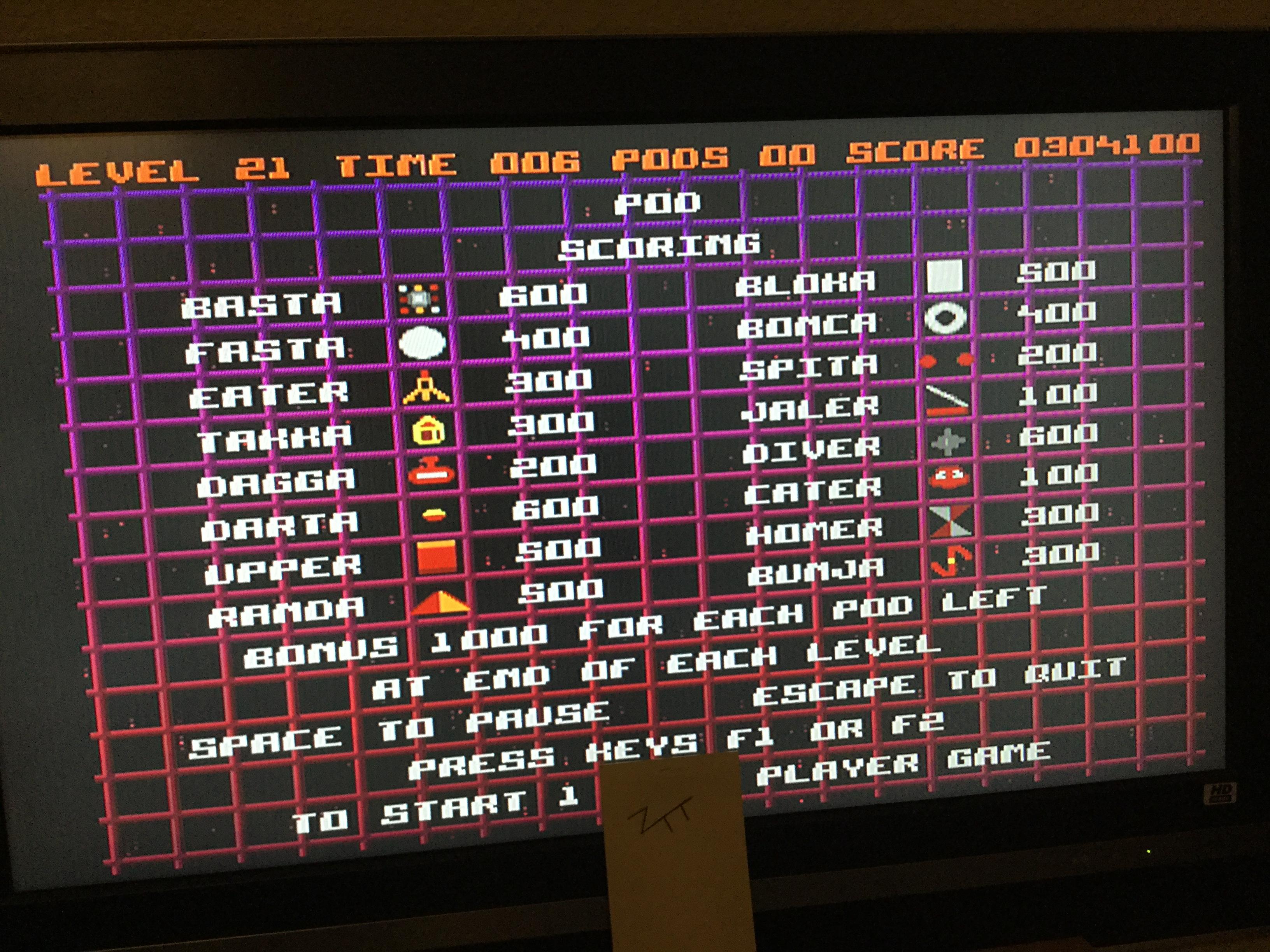 Frankie: PODS (Amiga) 304,100 points on 2017-10-27 14:09:03