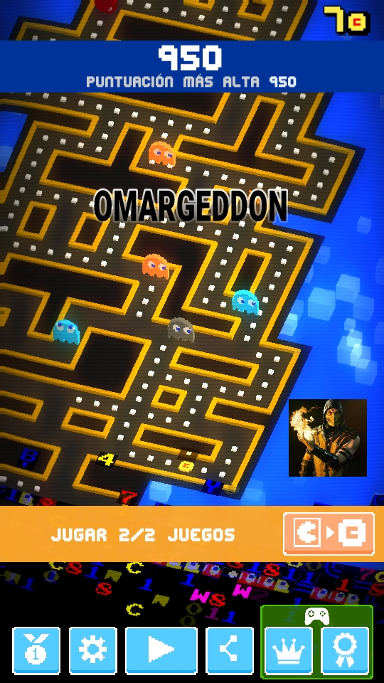 omargeddon: Pac-Man 256 [Mobile] (Android) 950 points on 2018-06-01 22:56:01
