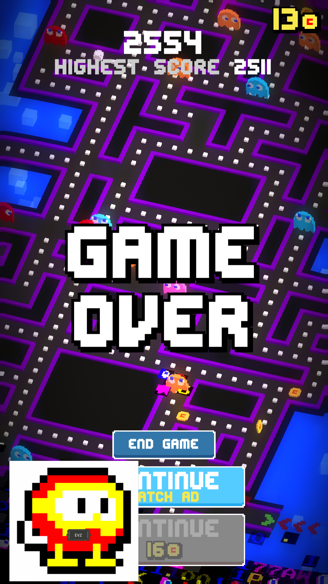 Pac-Man 256 [Mobile] 2,554 points