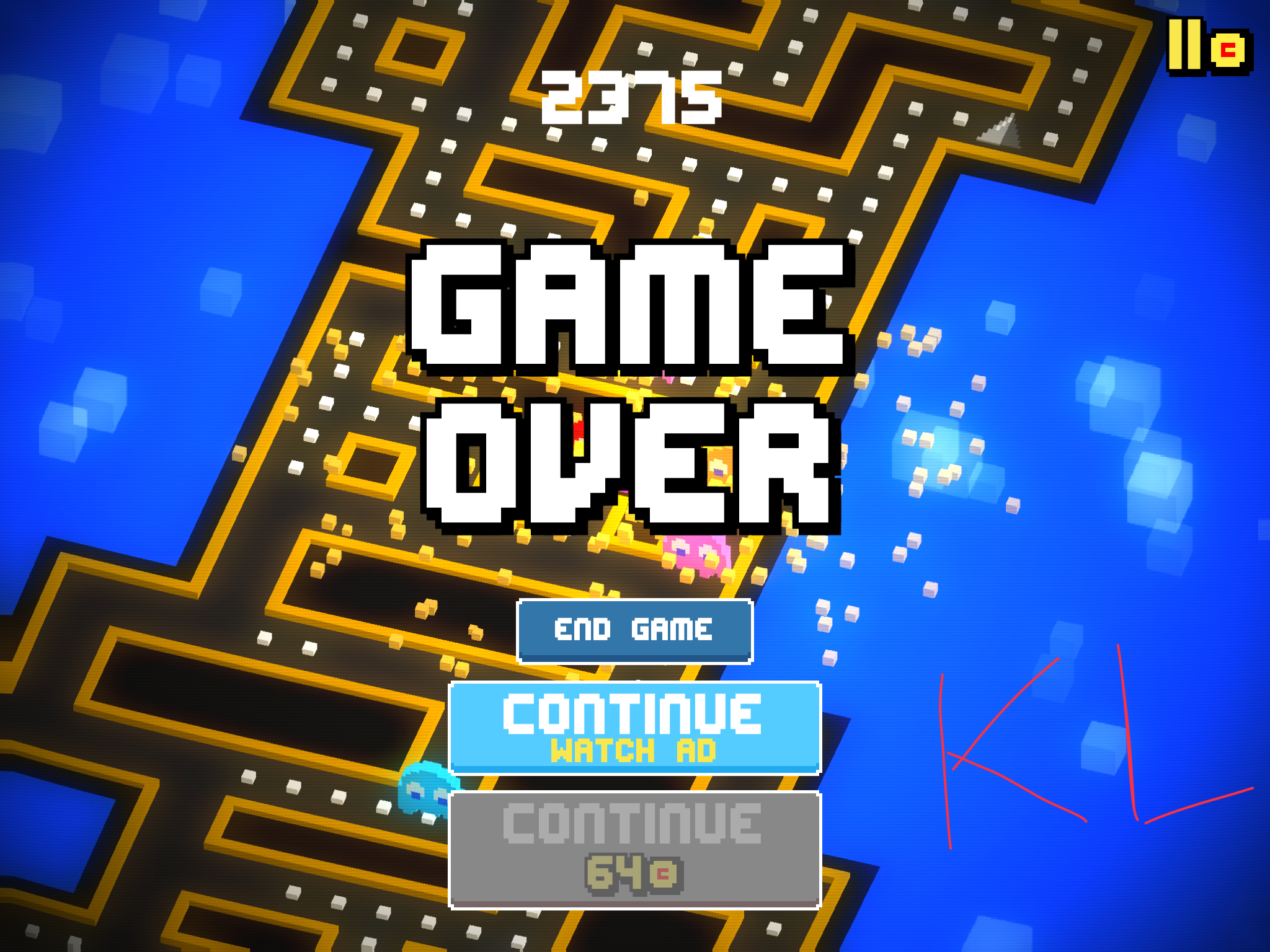 2toneshoes: Pac-Man 256 [Mobile] (iOS) 2,375 points on 2018-09-01 13:06:54