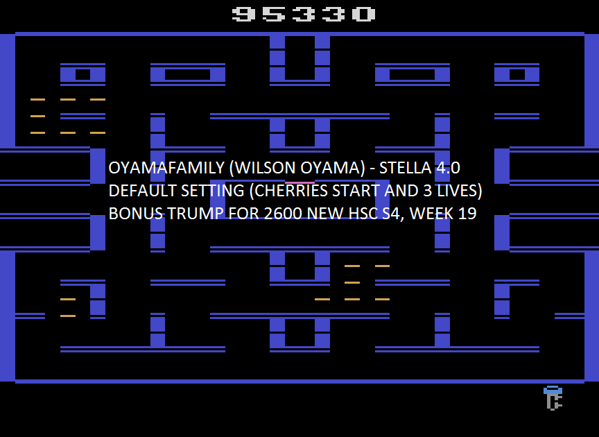 oyamafamily: Pac-Man 2600 [8K Version] [Cherries] (Atari 2600 Emulated) 95,330 points on 2016-03-01 16:43:37