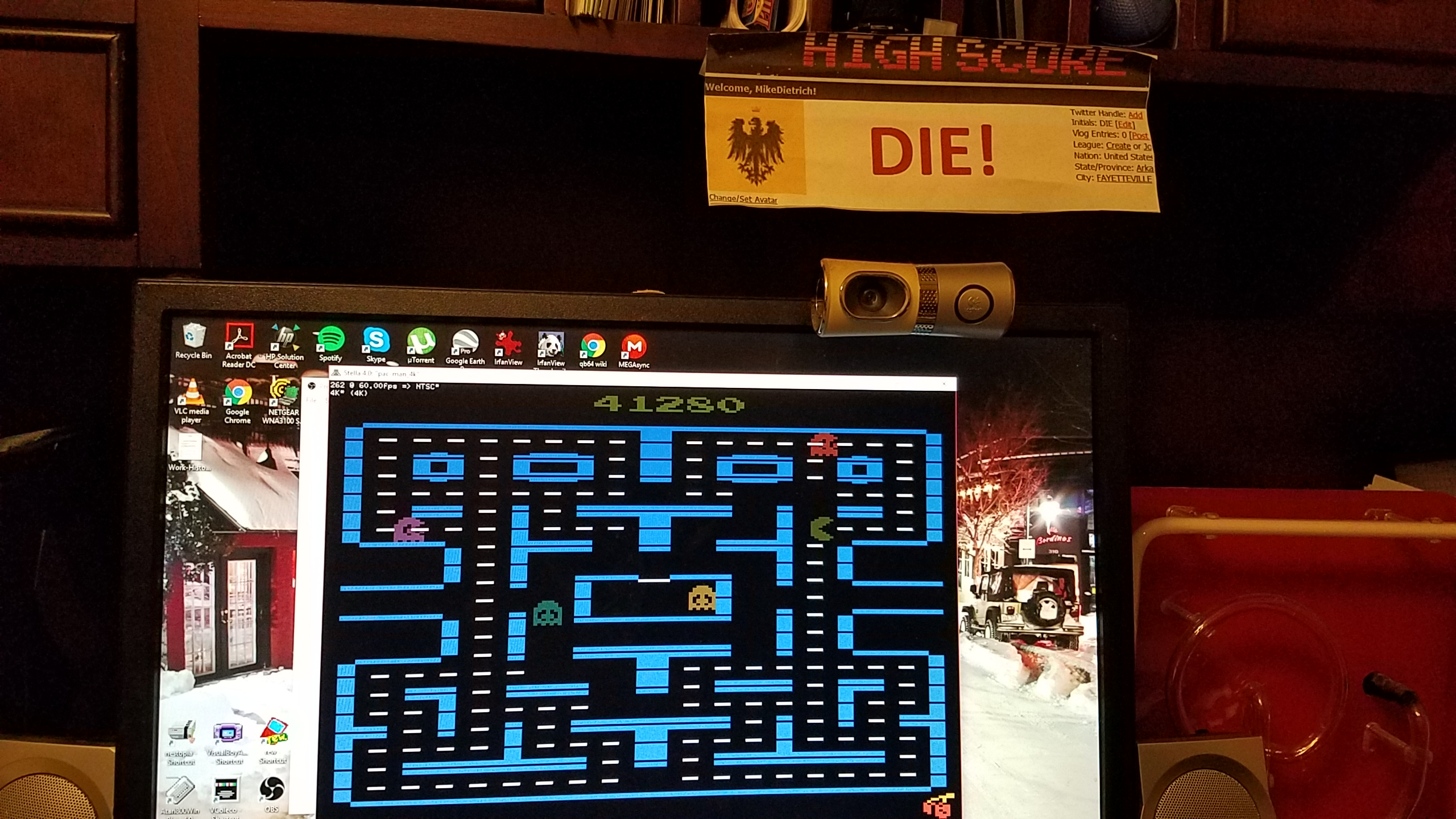 MikeDietrich: Pac-Man 4K (Atari 2600 Emulated Novice/B Mode) 41,280 points on 2018-01-31 18:01:34