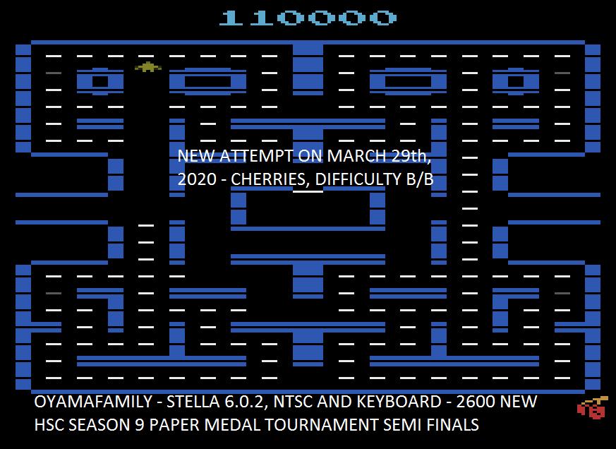 oyamafamily: Pac-Man 4K (Atari 2600 Emulated Novice/B Mode) 110,000 points on 2020-03-31 20:06:04
