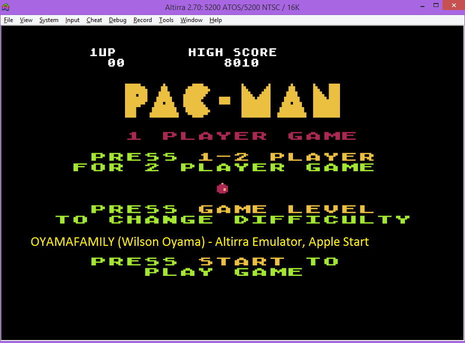 oyamafamily: Pac-Man: Apple Start (Atari 5200 Emulated) 8,010 points on 2016-07-25 19:24:59