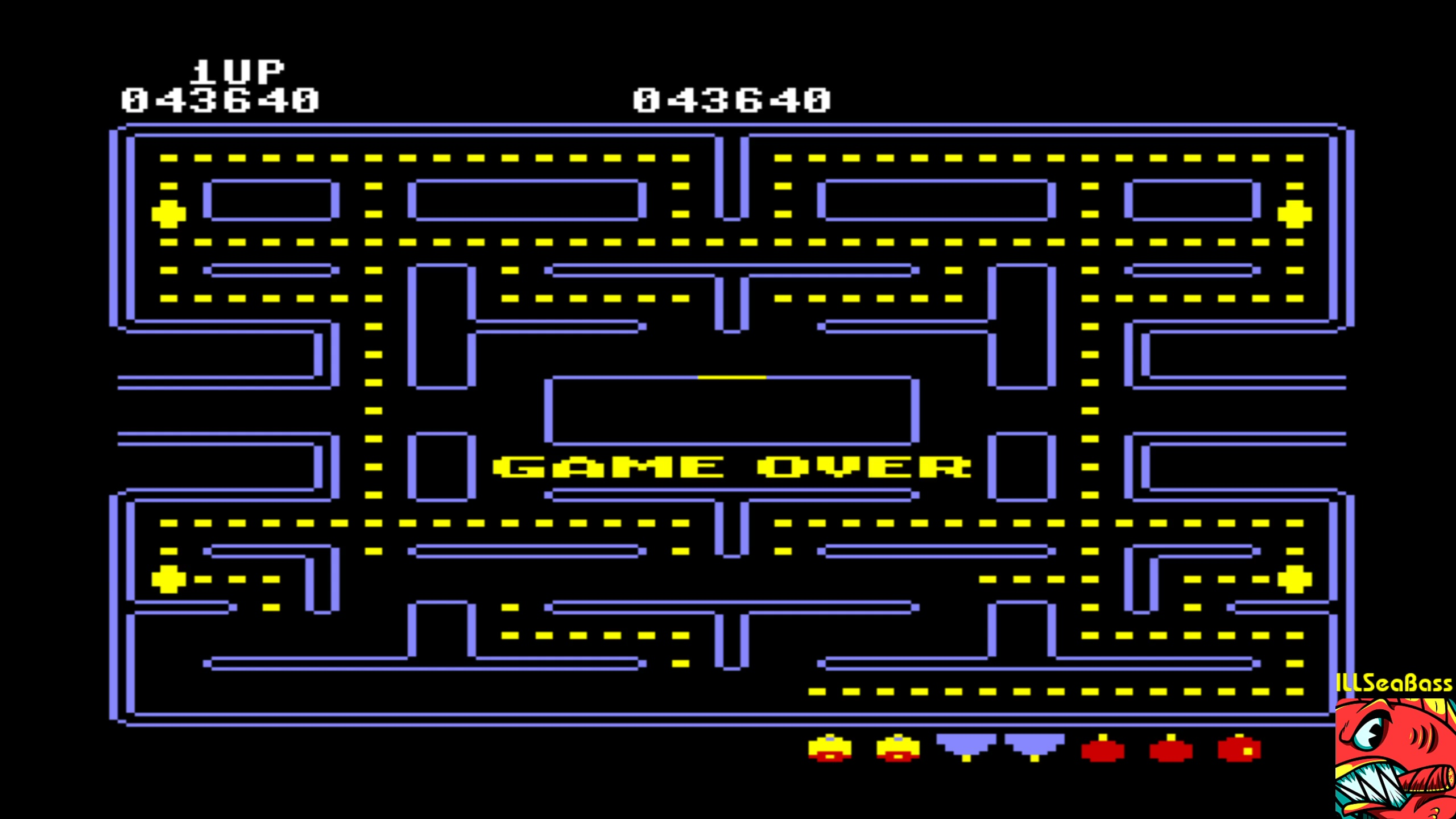 ILLSeaBass: Pac-Man [Apple start] (Commodore 64 Emulated) 43,640 points on 2018-02-12 00:35:51