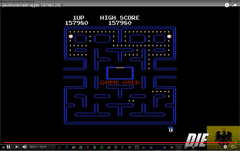 MikeDietrich: Pac-Man Arcade [Apple Start] (Atari 400/800/XL/XE Emulated) 157,980 points on 2016-11-25 14:45:34