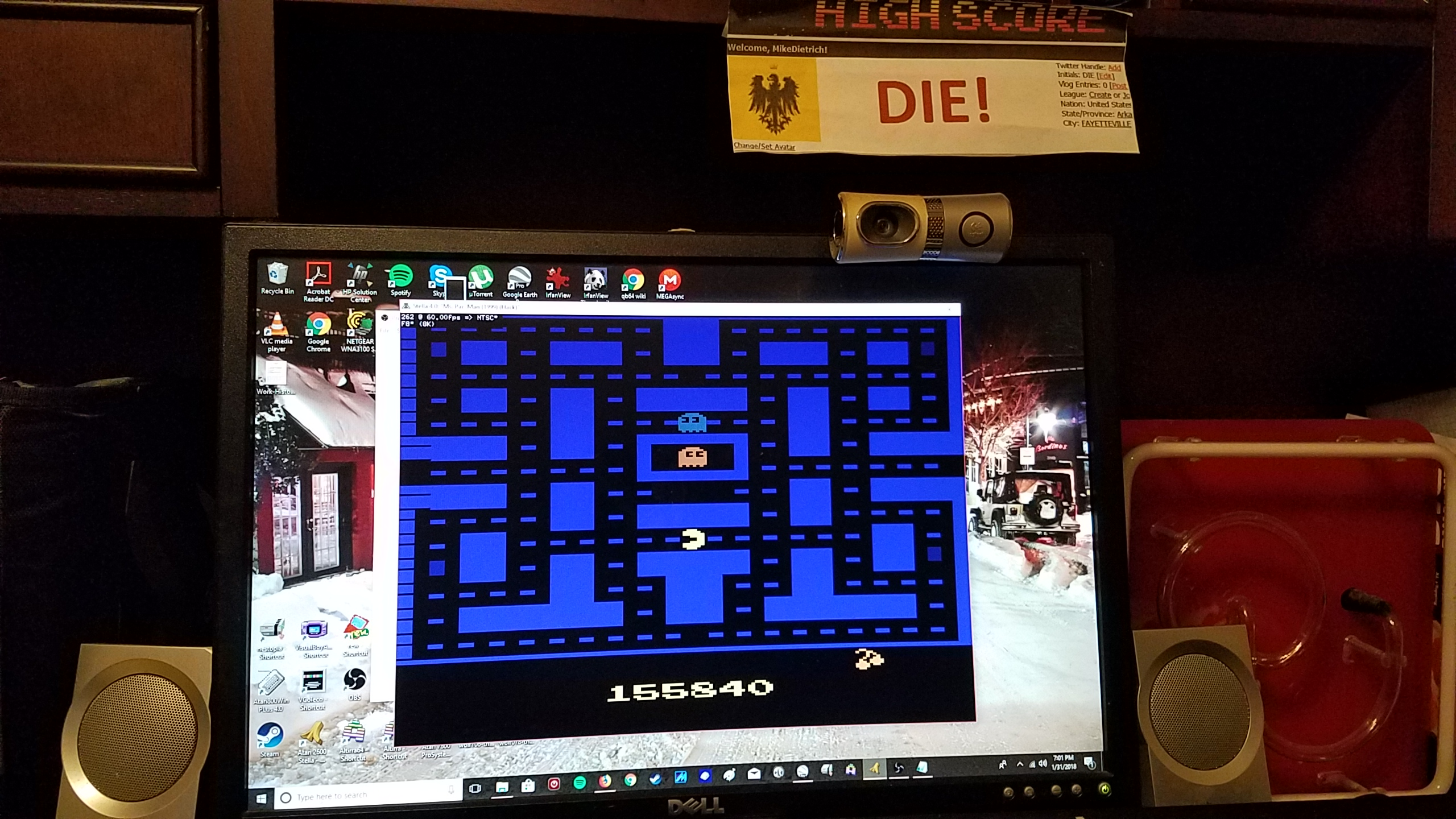 MikeDietrich: Pac-Man Arcade (Atari 2600 Emulated Novice/B Mode) 155,840 points on 2018-01-31 19:03:22