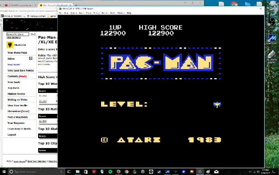 MikeDietrich: Pac-Man Arcade [Galaxian Start] (Atari 400/800/XL/XE Emulated) 122,900 points on 2017-07-30 17:38:26