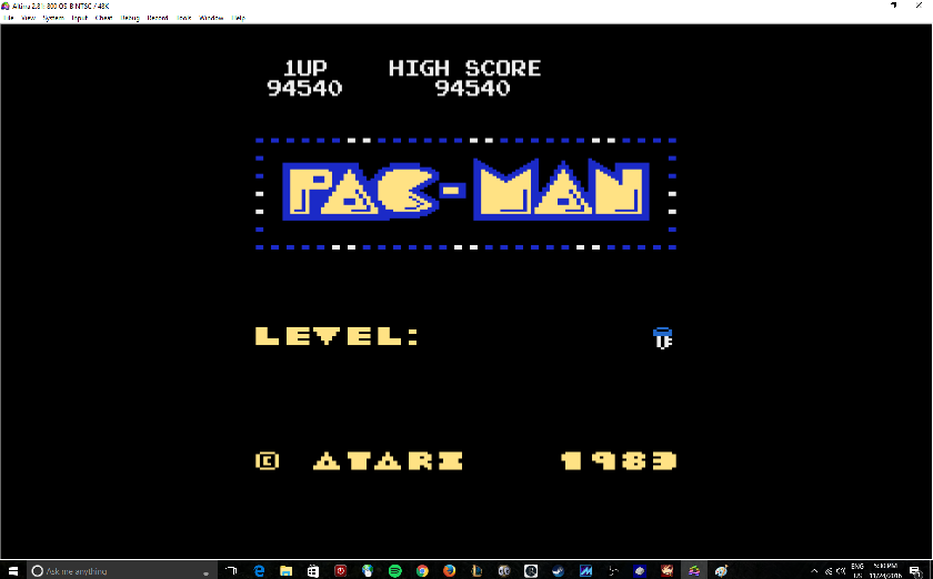 MikeDietrich: Pac-Man Arcade [Key Start] (Atari 400/800/XL/XE Emulated) 94,540 points on 2016-11-24 18:24:23