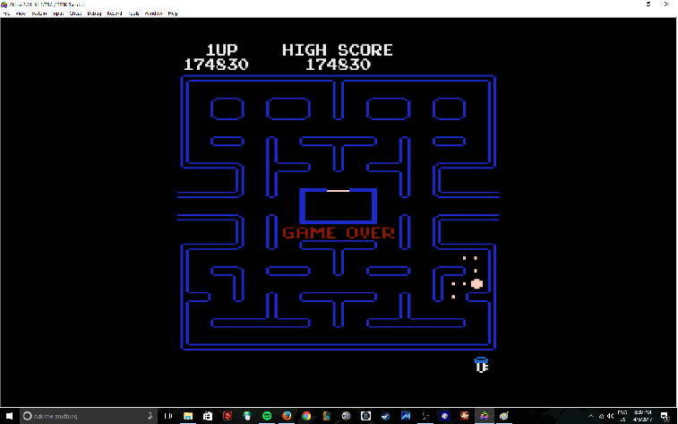 MikeDietrich: Pac-Man Arcade [Teddy Bear Start] (Atari 400/800/XL/XE Emulated) 174,830 points on 2017-04-05 20:32:16