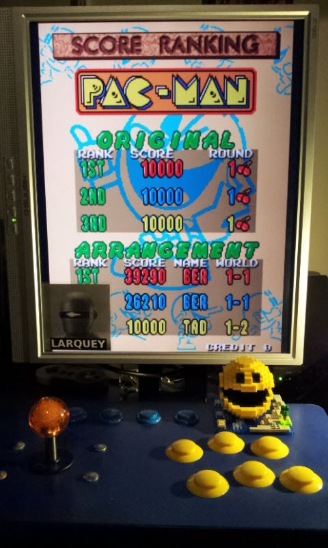 Larquey: Pac-Man Arrangement (Arcade Emulated / M.A.M.E.) 39,290 points on 2017-02-26 12:10:53