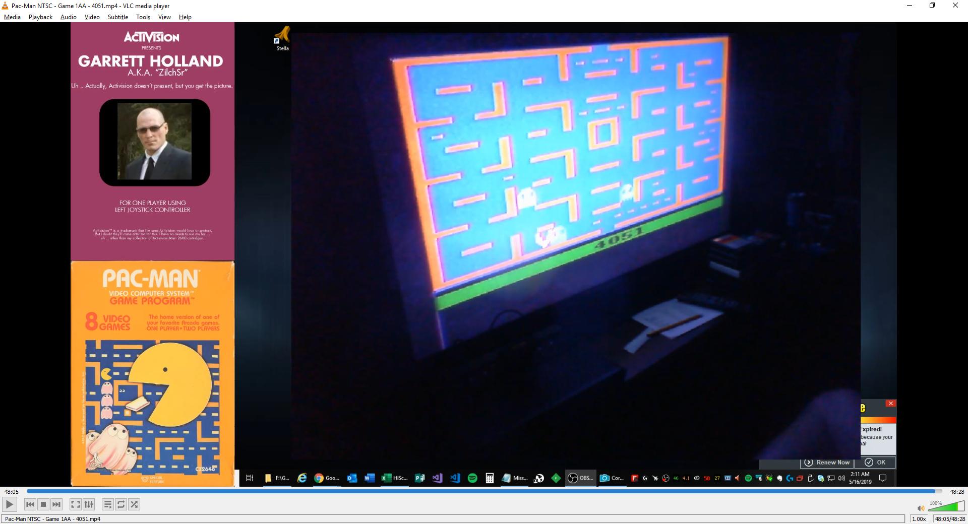 ZilchSr: Pac-Man (Atari 2600 Expert/A) 4,051 points on 2019-05-16 01:16:15
