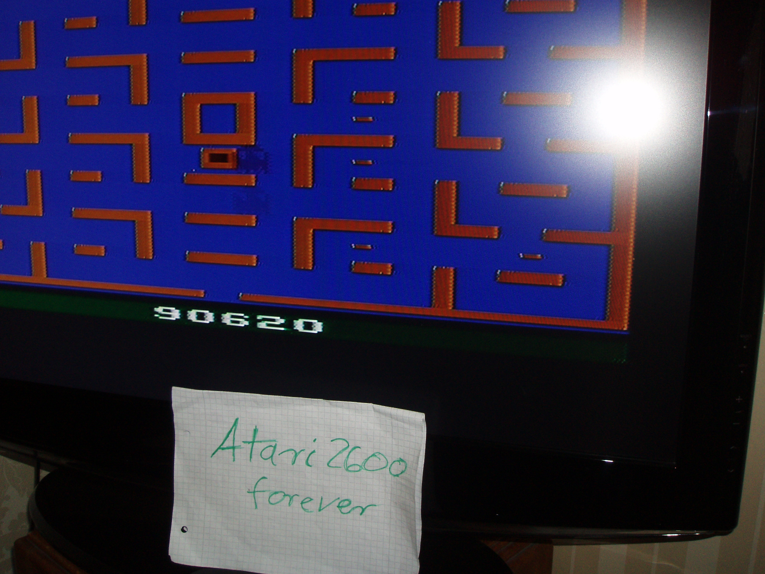 atari2600forever: Pac-Man (Atari 2600 Novice/B) 90,620 points on 2016-04-25 09:59:20