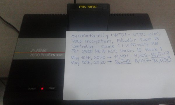 oyamafamily: Pac-Man (Atari 2600 Novice/B) 18,549 points on 2020-05-17 20:31:37