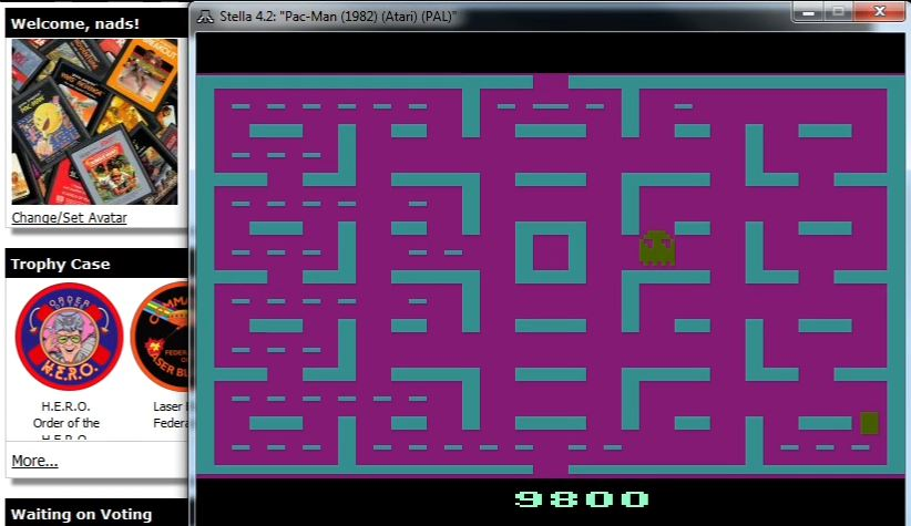 nads: Pac-Man (Atari 2600 Emulated Expert/A Mode) 9,800 points on 2016-03-27 21:31:49