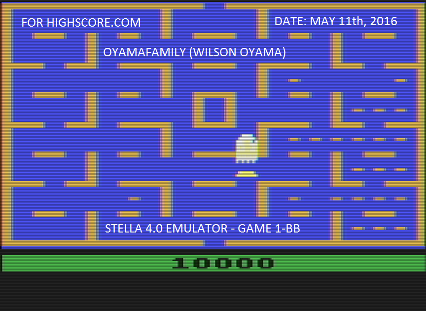 oyamafamily: Pac-Man (Atari 2600 Emulated Novice/B Mode) 10,000 points on 2016-05-11 20:09:03