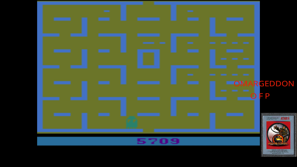 omargeddon: Pac-Man (Atari 2600 Emulated Novice/B Mode) 5,709 points on 2017-05-29 01:20:41