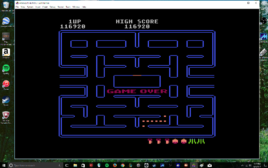 MikeDietrich: Pac-Man (Atari 400/800/XL/XE Emulated) 116,920 points on 2017-08-01 15:49:47