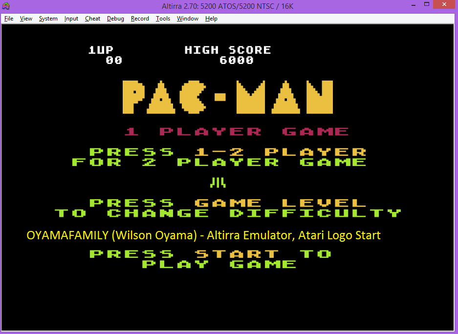 oyamafamily: Pac-Man: Atari Logo Start (Atari 5200 Emulated) 6,000 points on 2016-07-25 19:25:24