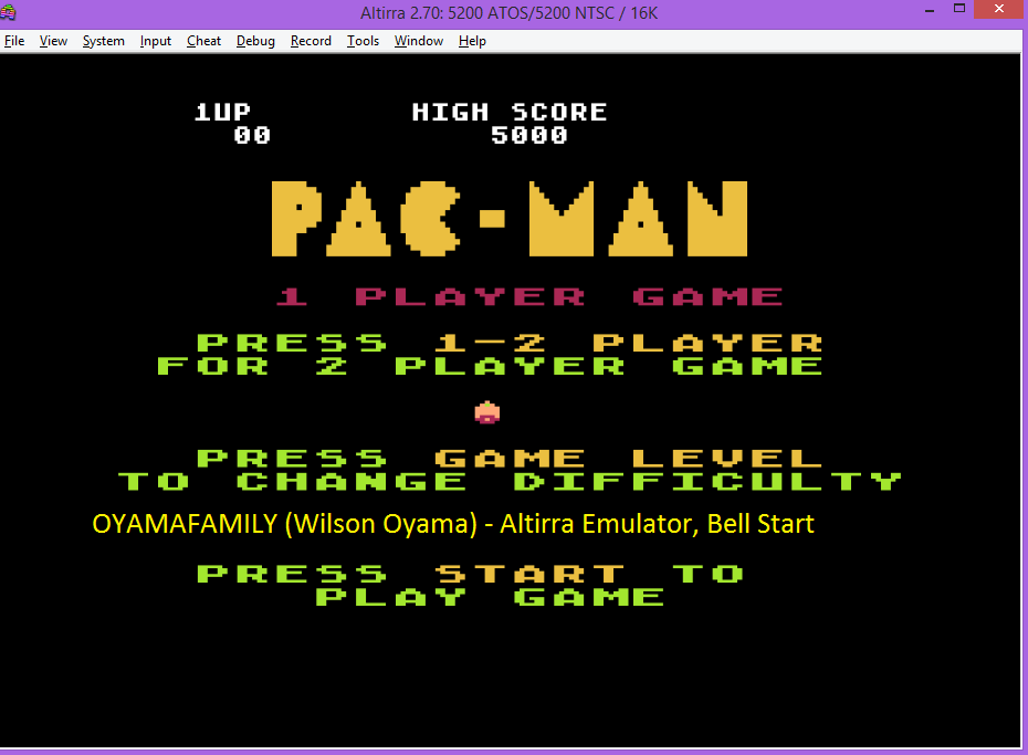 oyamafamily: Pac-Man: Bell Start (Atari 5200 Emulated) 5,000 points on 2016-07-25 19:25:53