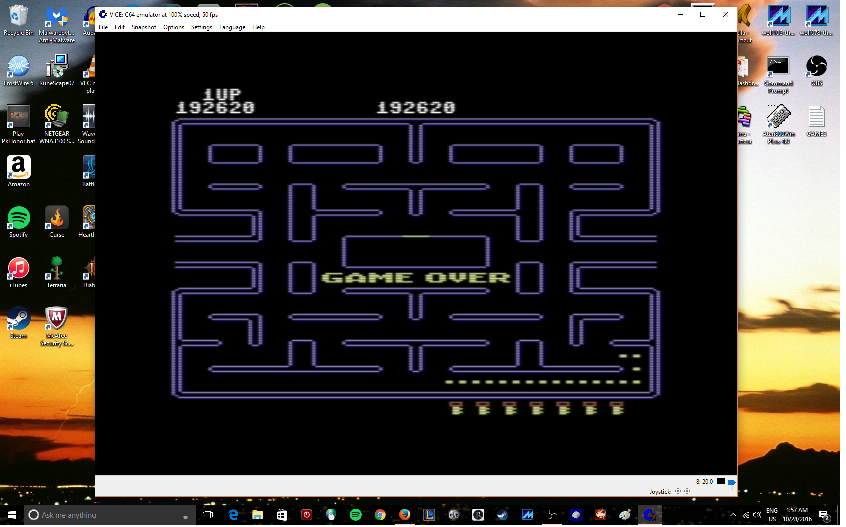 MikeDietrich: Pac-Man [Bell start] (Commodore 64 Emulated) 192,620 points on 2016-10-28 02:19:07