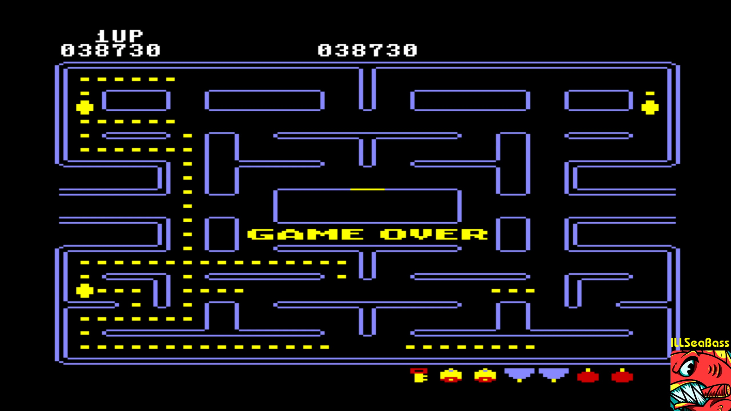ILLSeaBass: Pac-Man [Berries start] (Commodore 64 Emulated) 38,730 points on 2018-02-12 00:51:25