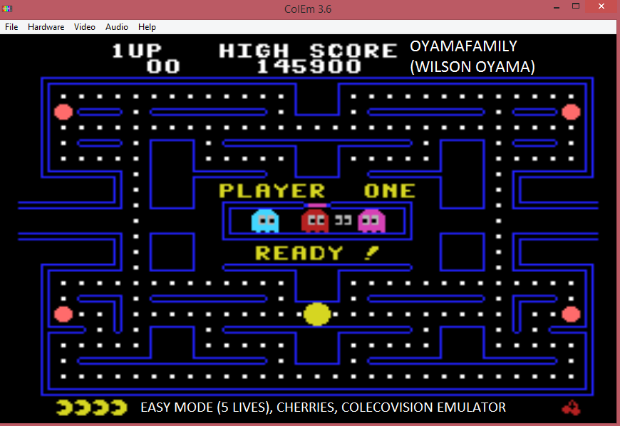 oyamafamily: Pac-Man (Colecovision Emulated) 145,900 points on 2017-02-03 18:13:47