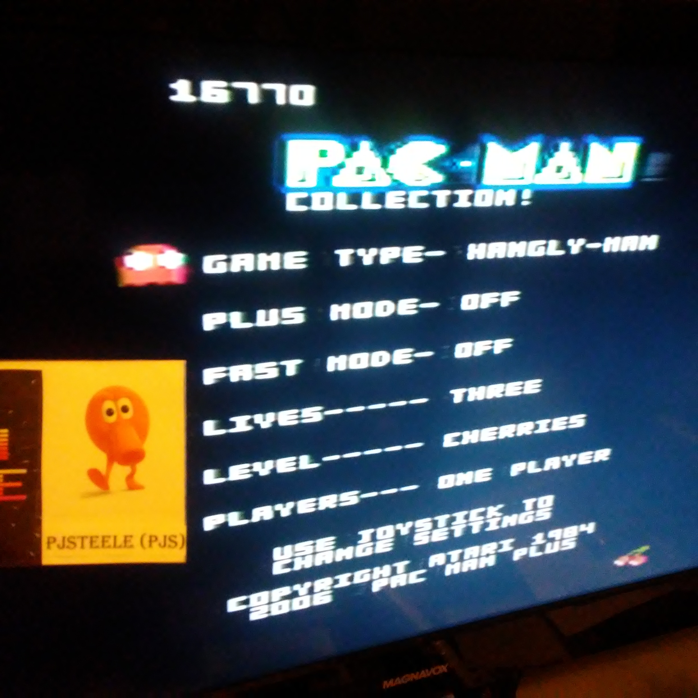 Pjsteele: Pac-Man Collection: Hangly Man [Cherries/Plus Off/Fast Off] (Atari 7800) 16,770 points on 2018-06-29 21:12:43