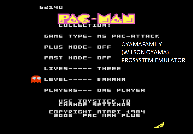 oyamafamily: Pac-Man Collection: Ms. Pac-Attack [Banana/Plus Off/Fast Off] (Atari 7800 Emulated) 62,190 points on 2016-03-04 20:10:11