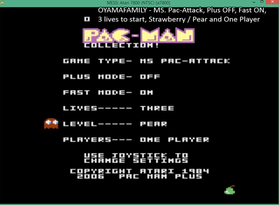 oyamafamily: Pac-Man Collection: Ms. Pac-Attack [Pear/Plus Off/Fast On] (Atari 7800 Emulated) 125,230 points on 2016-03-27 05:53:40