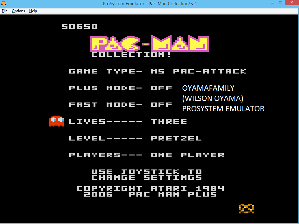 oyamafamily: Pac-Man Collection: Ms. Pac-Attack [Pretzel/Plus Off/Fast Off] (Atari 7800 Emulated) 50,650 points on 2016-02-28 19:59:48