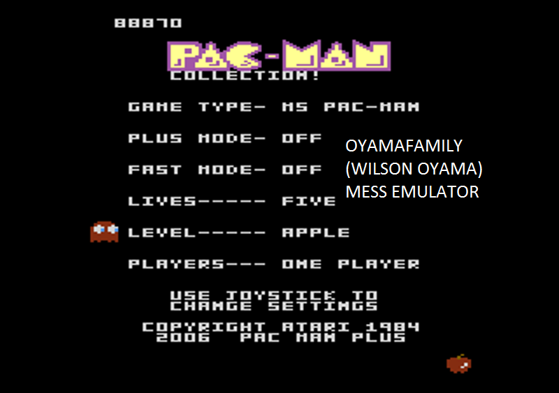 oyamafamily: Pac-Man Collection: Ms. Pac-Man: 5 Lives [Apple/Plus Off/Fast Off] (Atari 7800 Emulated) 88,870 points on 2016-02-14 04:47:19