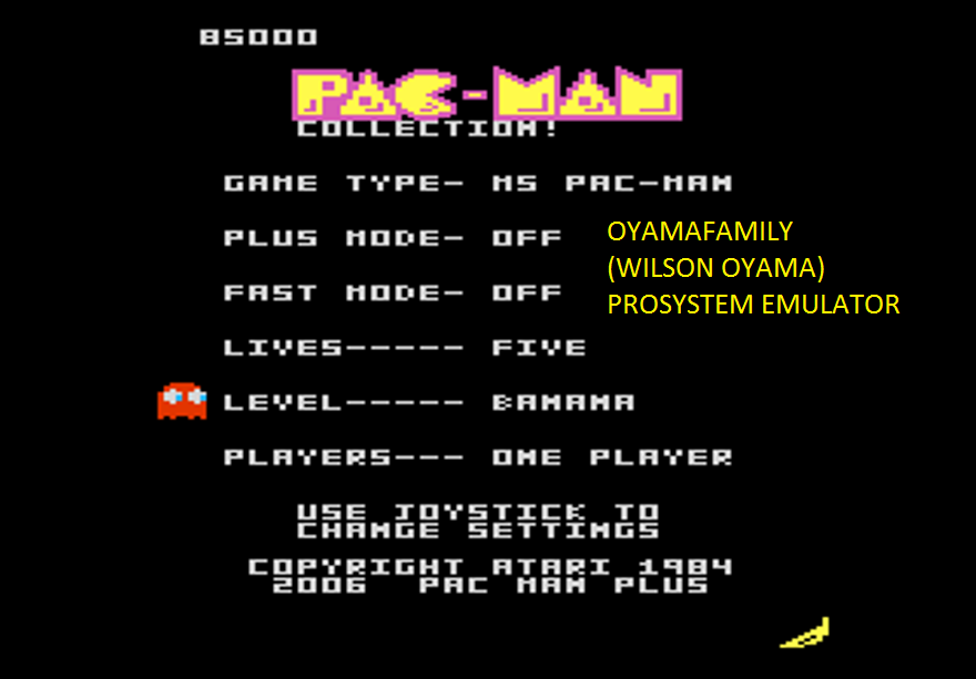 oyamafamily: Pac-Man Collection: Ms. Pac-Man: 5 Lives [Banana/Plus Off/Fast Off] (Atari 7800 Emulated) 85,000 points on 2016-03-05 19:39:24