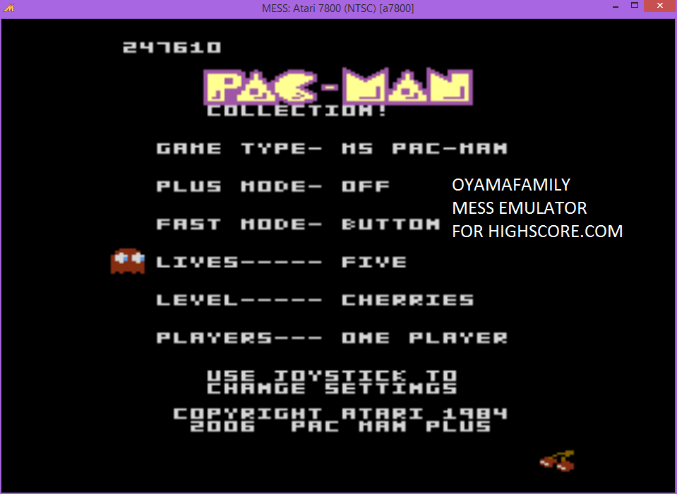 oyamafamily: Pac-Man Collection: Ms. Pac-Man: 5 Lives [Cherries/Plus Off/Fast Button] (Atari 7800 Emulated) 247,610 points on 2016-01-09 11:20:22