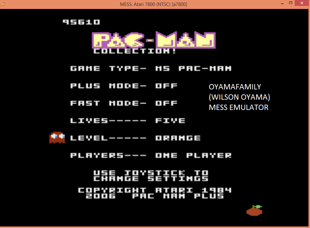 oyamafamily: Pac-Man Collection: Ms. Pac-Man: 5 Lives [Orange/Plus Off/Fast Off] (Atari 7800 Emulated) 95,610 points on 2016-02-27 17:53:52
