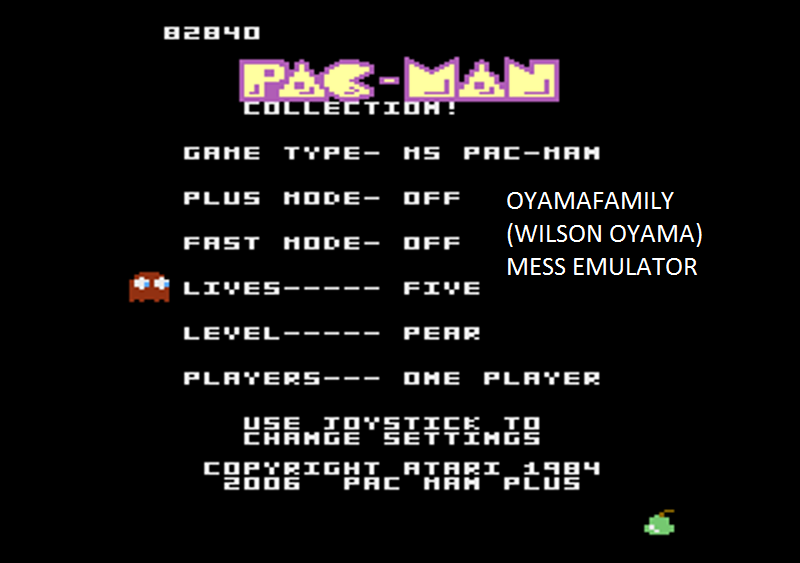 oyamafamily: Pac-Man Collection: Ms. Pac-Man: 5 Lives [Pear/Plus Off/Fast Off] (Atari 7800 Emulated) 82,840 points on 2016-02-27 17:51:05