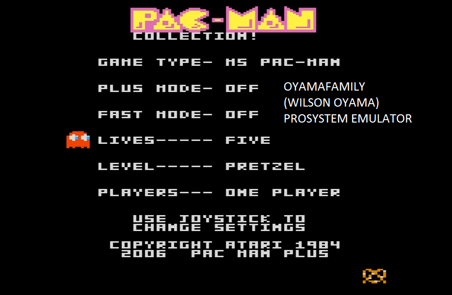 oyamafamily: Pac-Man Collection: Ms. Pac-Man: 5 Lives [Pretzel/Plus Off/Fast Off] (Atari 7800 Emulated) 81,450 points on 2016-03-05 19:38:50