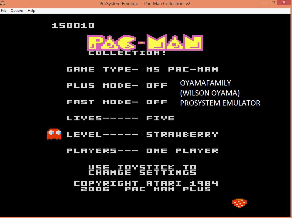 oyamafamily: Pac-Man Collection: Ms. Pac-Man: 5 Lives [Strawberry/Plus Off/Fast Off] (Atari 7800 Emulated) 150,010 points on 2016-03-06 12:31:38