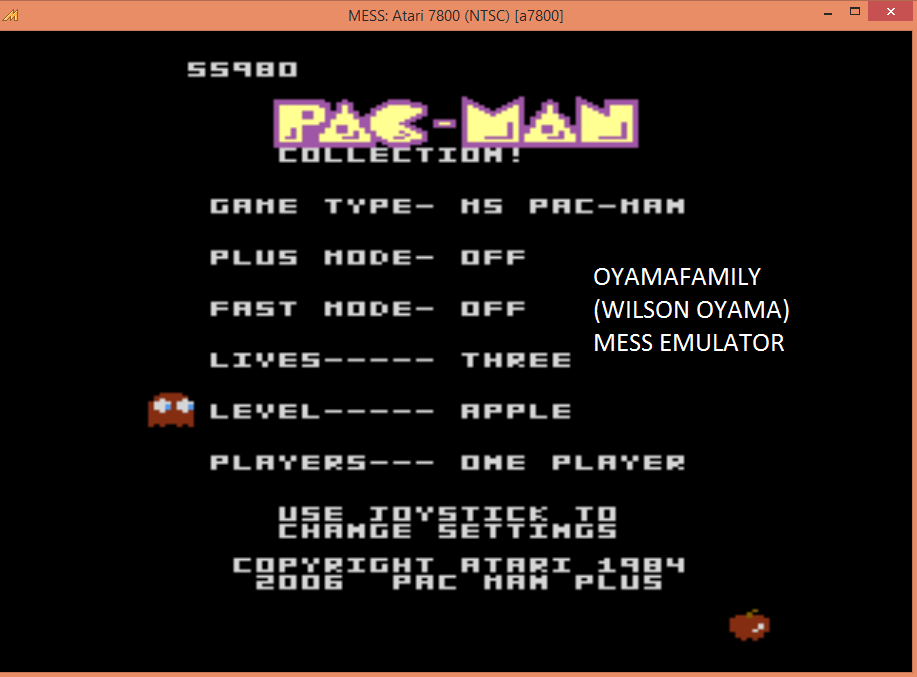 oyamafamily: Pac-Man Collection: Ms. Pac-Man [Apple/Plus Off/Fast Off] (Atari 7800 Emulated) 55,980 points on 2015-09-03 20:30:18