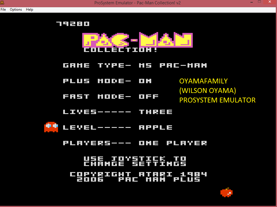 Pac-Man Collection: Ms. Pac-Man [Apple/Plus On/Fast Off] 79,280 points