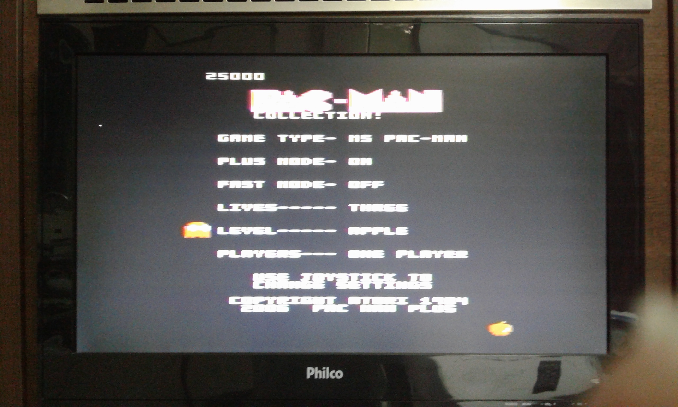 oyamafamily: Pac-Man Collection: Ms. Pac-Man [Apple/Plus On/Fast Off] (Atari 7800) 25,000 points on 2020-05-28 20:34:20