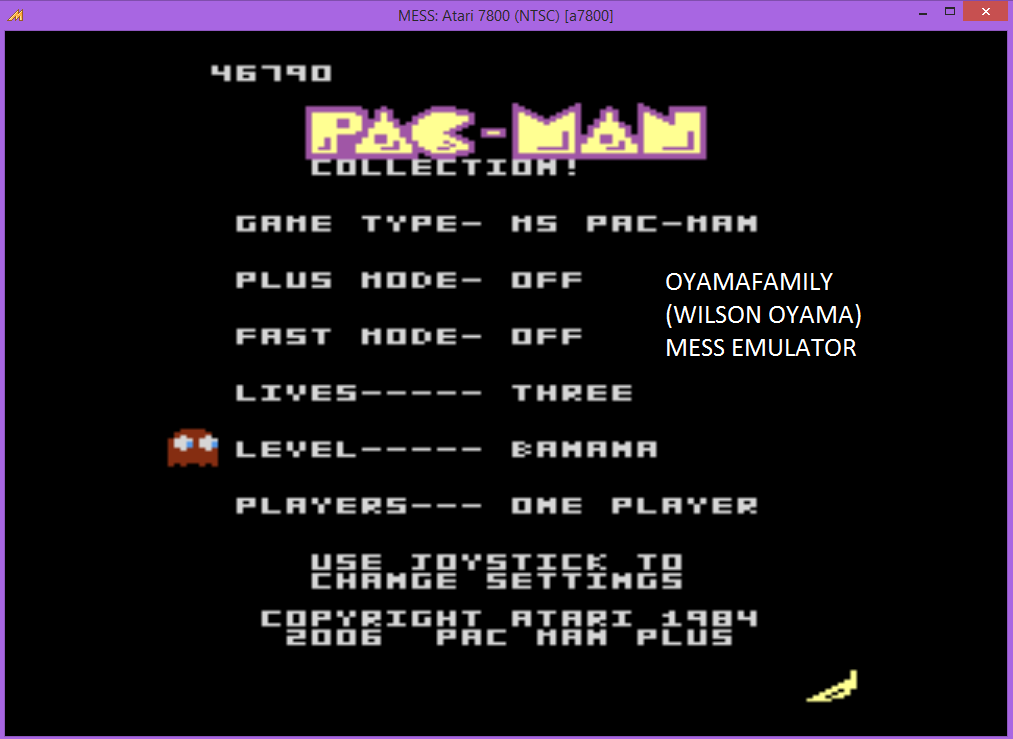 oyamafamily: Pac-Man Collection: Ms. Pac-Man [Banana/Plus Off/Fast Off] (Atari 7800 Emulated) 46,790 points on 2015-09-03 20:42:47