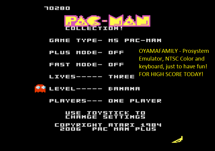 oyamafamily: Pac-Man Collection: Ms. Pac-Man [Banana/Plus Off/Fast Off] (Atari 7800 Emulated) 70,280 points on 2018-08-12 18:25:10